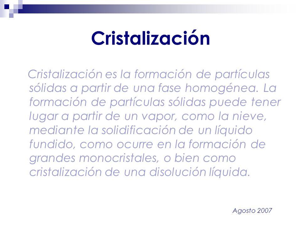Agosto 2007 Cristalización Cristalización es la formación de partículas sólidas a partir de una fase homogénea. La formación de partículas sólidas pue