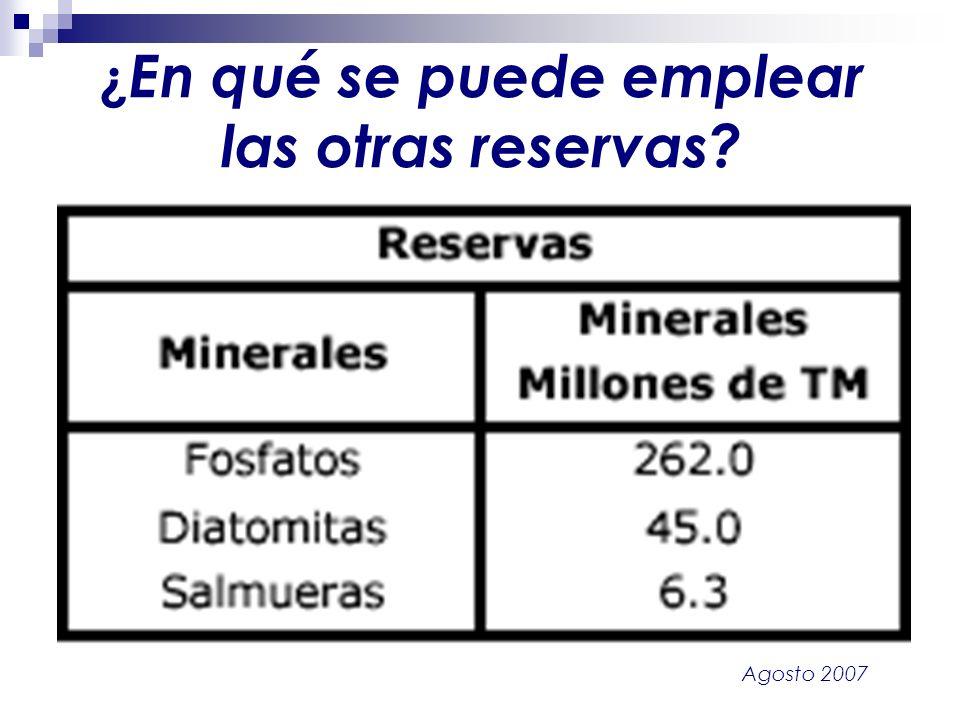 Agosto 2007 ¿ En qué se puede emplear las otras reservas?