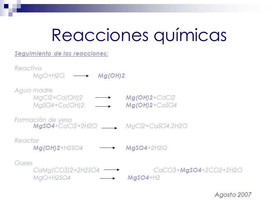 Agosto 2007 Reacciones químicas Seguimiento de las reacciones: Reactivo MgO+H2O Mg(OH)2 Agua madre MgCl2+Ca(OH)2 Mg(OH)2 +CaCl2 MgSO4+Ca(OH)2 Mg(OH)2