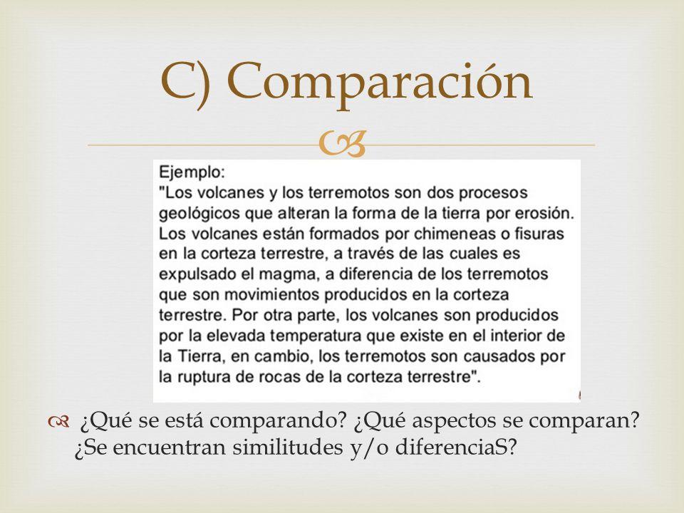 ¿Qué se está comparando? ¿Qué aspectos se comparan? ¿Se encuentran similitudes y/o diferenciaS? C) Comparación