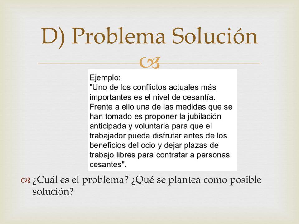 ¿Cuál es el problema? ¿Qué se plantea como posible solución? D) Problema Solución