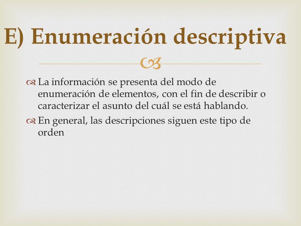 La información se presenta del modo de enumeración de elementos, con el fin de describir o caracterizar el asunto del cuál se está hablando. En genera