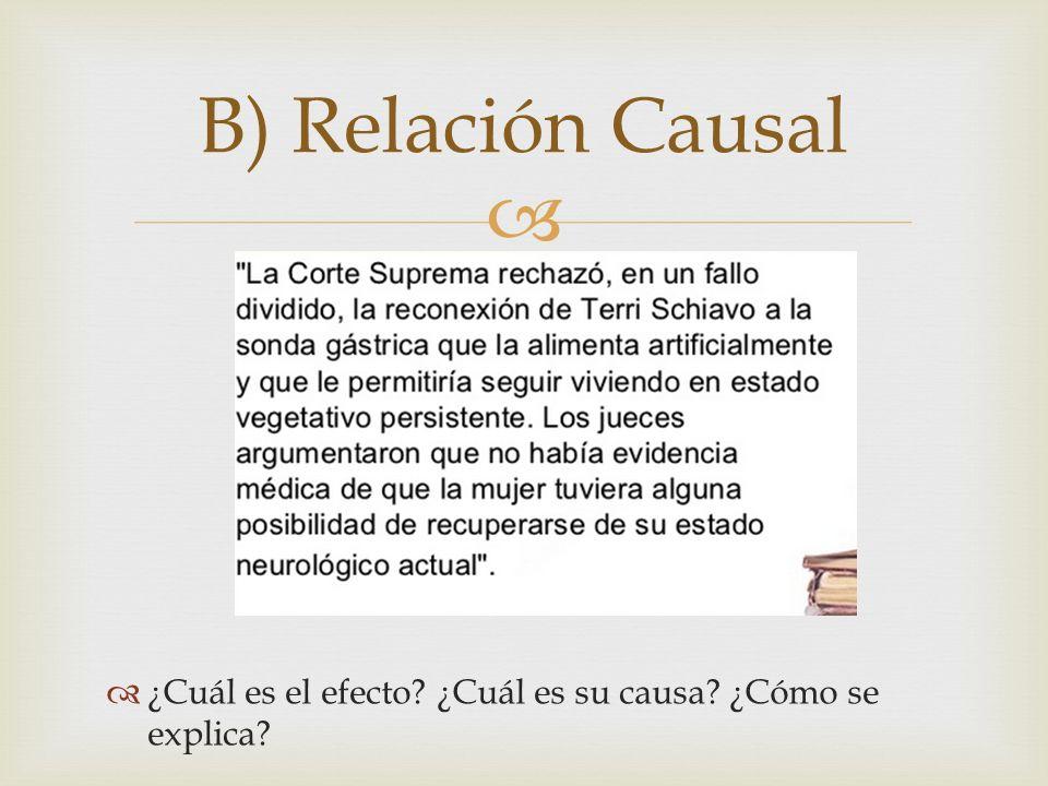 ¿Cuál es el efecto? ¿Cuál es su causa? ¿Cómo se explica? B) Relación Causal