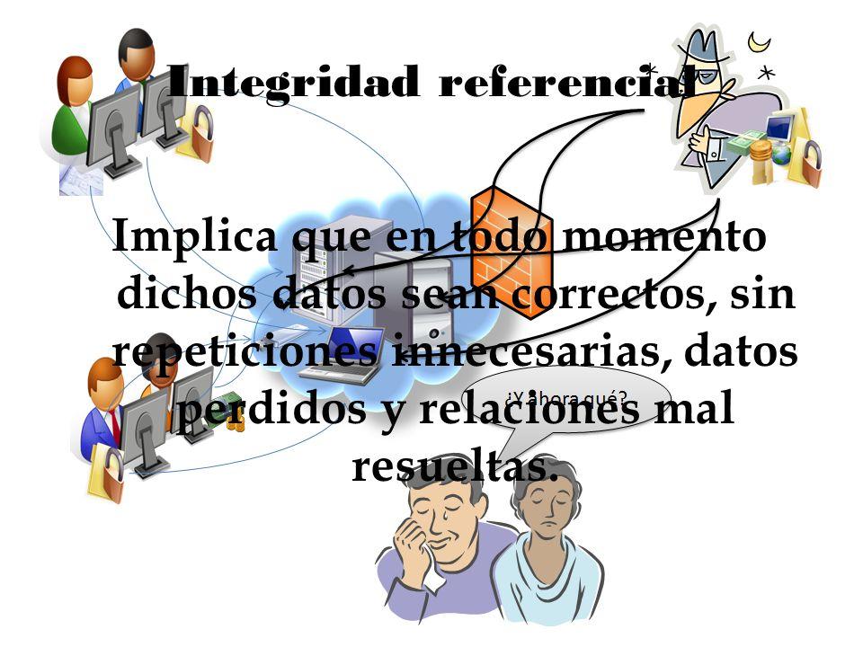 Integridad referencial Implica que en todo momento dichos datos sean correctos, sin repeticiones innecesarias, datos perdidos y relaciones mal resuelt