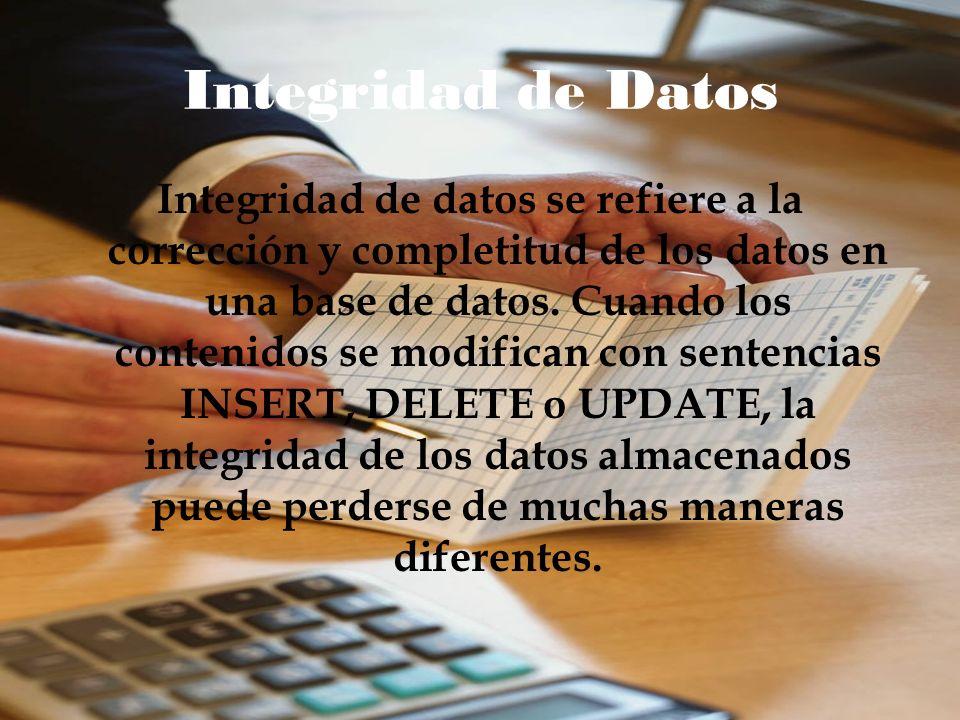 Integridad de Datos Integridad de datos se refiere a la corrección y completitud de los datos en una base de datos. Cuando los contenidos se modifican
