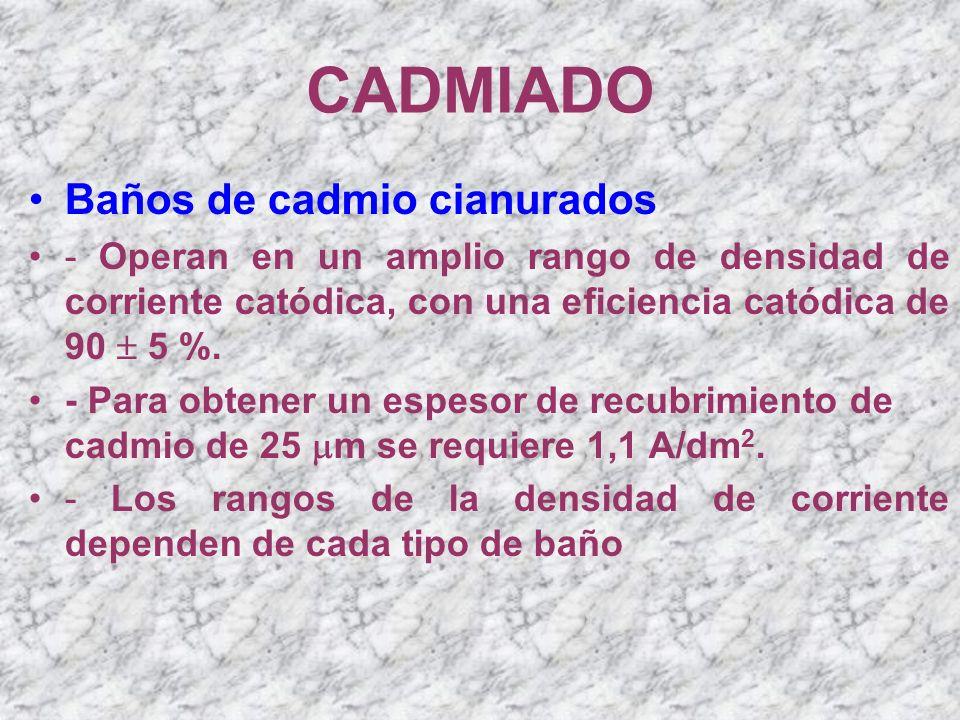CADMIADO Baños de cadmio cianurados - Operan en un amplio rango de densidad de corriente catódica, con una eficiencia catódica de 90 5 %. - Para obten
