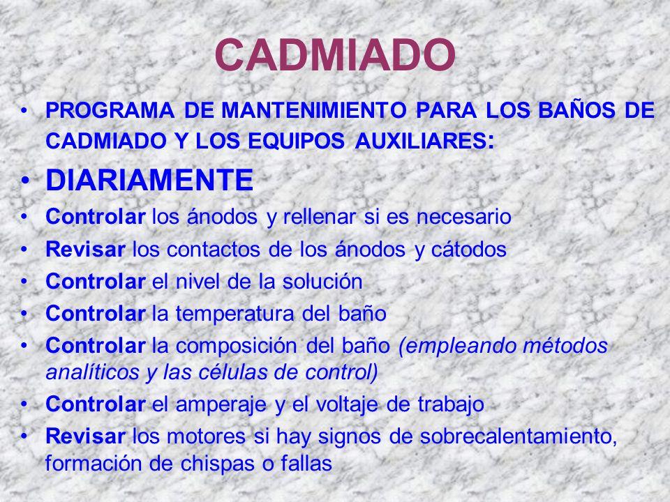 CADMIADO PROGRAMA DE MANTENIMIENTO PARA LOS BAÑOS DE CADMIADO Y LOS EQUIPOS AUXILIARES : DIARIAMENTE Controlar los ánodos y rellenar si es necesario R