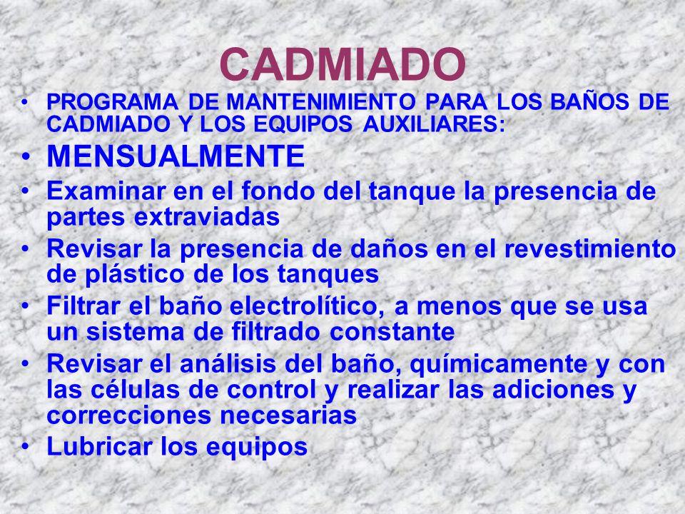 CADMIADO PROGRAMA DE MANTENIMIENTO PARA LOS BAÑOS DE CADMIADO Y LOS EQUIPOS AUXILIARES: MENSUALMENTE Examinar en el fondo del tanque la presencia de p