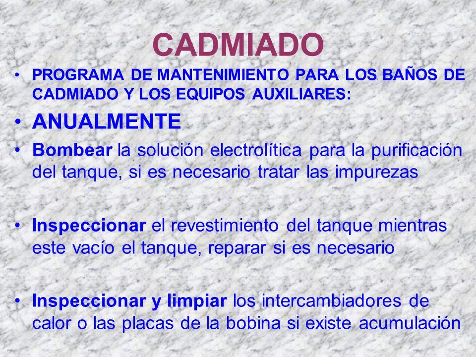 CADMIADO PROGRAMA DE MANTENIMIENTO PARA LOS BAÑOS DE CADMIADO Y LOS EQUIPOS AUXILIARES: ANUALMENTE Bombear la solución electrolítica para la purificac