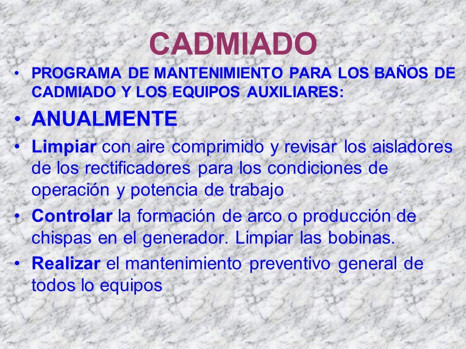 CADMIADO PROGRAMA DE MANTENIMIENTO PARA LOS BAÑOS DE CADMIADO Y LOS EQUIPOS AUXILIARES: ANUALMENTE Limpiar con aire comprimido y revisar los aisladore