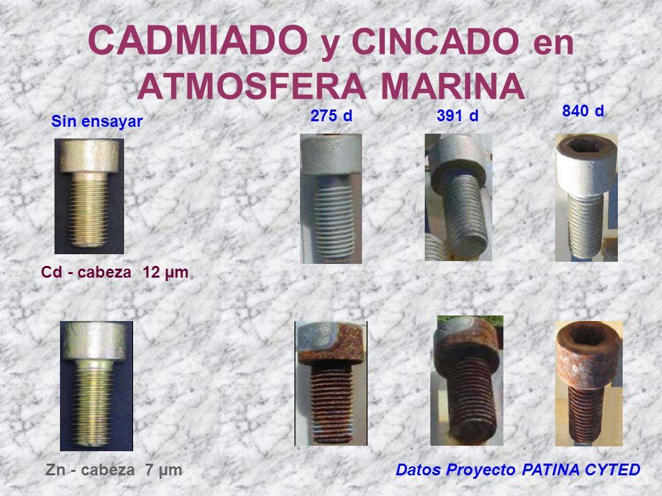 CADMIADO y CINCADO en ATMOSFERA MARINA Datos Proyecto PATINA CYTED Sin ensayar Cd - cabeza 12 µm Zn - cabeza 7 µm 275 d391 d 840 d