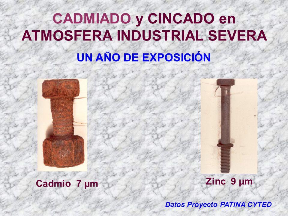CADMIADO y CINCADO en ATMOSFERA INDUSTRIAL SEVERA Datos Proyecto PATINA CYTED UN AÑO DE EXPOSICIÓN Cadmio 7 µm Zinc 9 µm