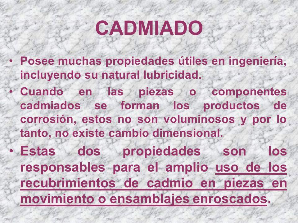 CADMIADO Tipos de electrolitos Los abrillantadores más empleaos en los baños de cadmio son compuestos orgánicos a base de alcoholes, aldehidos, cetonas, dextrina, gelatina, melaza y algunos ácidos sulfónico.