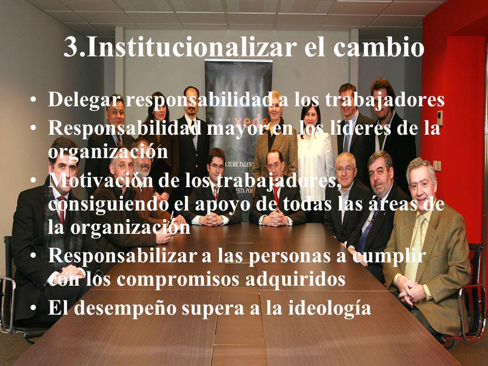 04/02/2014 07:19 a.m.Universidad de las Ciencias y el Arte de Costa Rica 46 3.Institucionalizar el cambio Delegar responsabilidad a los trabajadores R