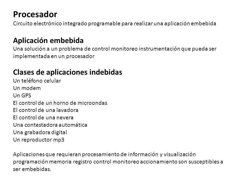 Procesador Circuito electrónico integrado programable para realizar una aplicación embebida Aplicación embebida Una solución a un problema de control
