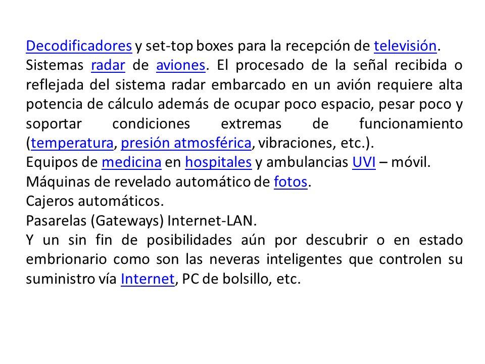DecodificadoresDecodificadores y set-top boxes para la recepción de televisión.televisión Sistemas radar de aviones. El procesado de la señal recibida
