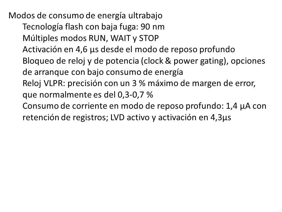 Modos de consumo de energía ultrabajo Tecnología flash con baja fuga: 90 nm Múltiples modos RUN, WAIT y STOP Activación en 4,6 μs desde el modo de rep