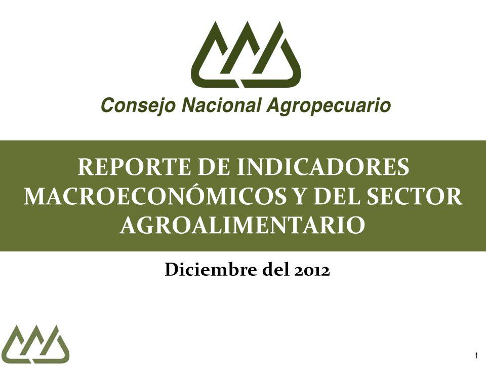 1 REPORTE DE INDICADORES MACROECONÓMICOS Y DEL SECTOR AGROALIMENTARIO Diciembre del 2012