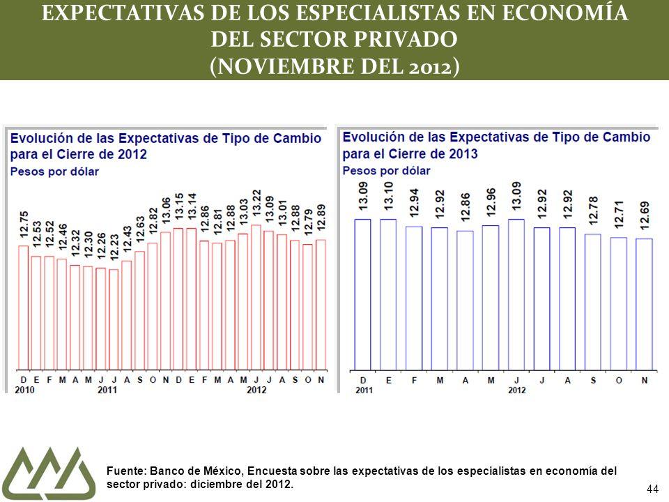 44 EXPECTATIVAS DE LOS ESPECIALISTAS EN ECONOMÍA DEL SECTOR PRIVADO (NOVIEMBRE DEL 2012) Fuente: Banco de México, Encuesta sobre las expectativas de los especialistas en economía del sector privado: diciembre del 2012.