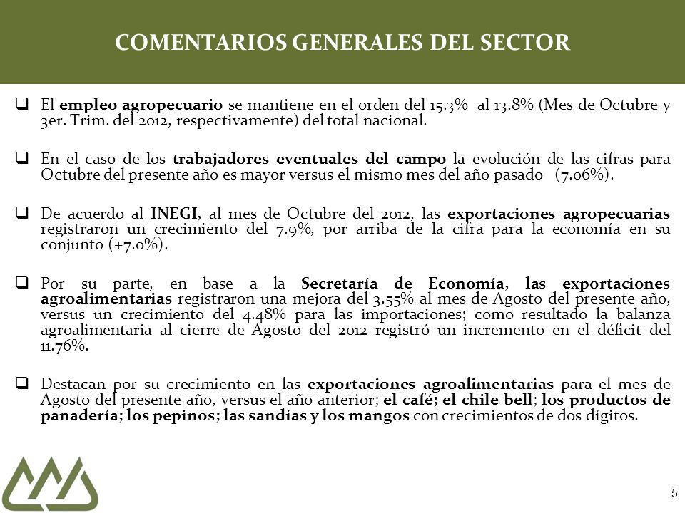 5 COMENTARIOS GENERALES DEL SECTOR El empleo agropecuario se mantiene en el orden del 15.3% al 13.8% (Mes de Octubre y 3er.