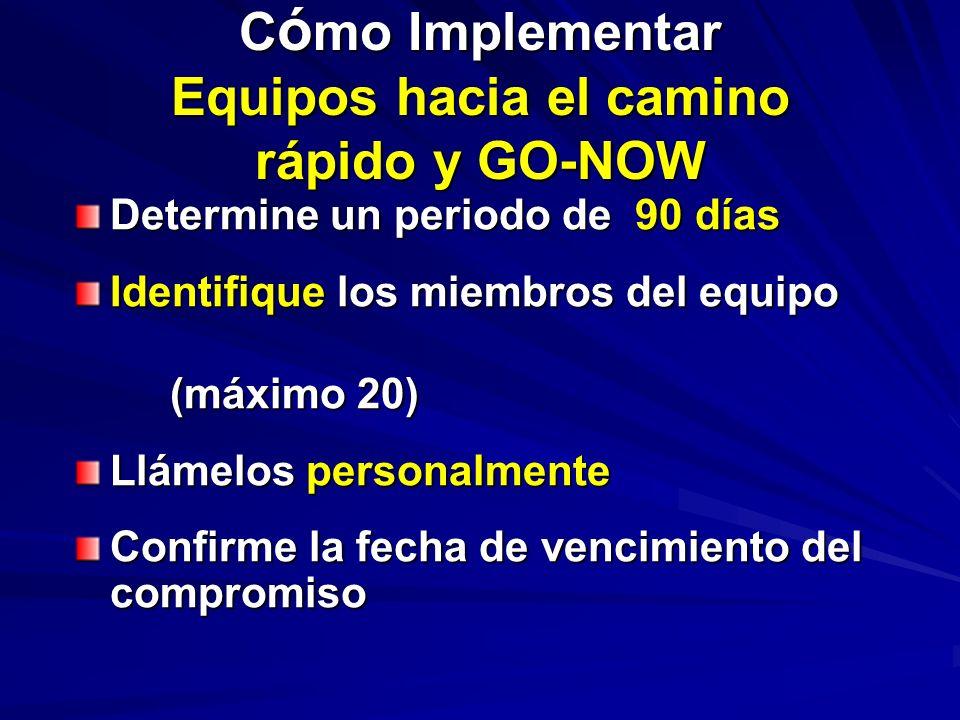 C ó mo Implementar Equipos hacia el camino rápido y GO-NOW Determine un periodo de 90 días Identifique los miembros del equipo (máximo 20) Llámelos personalmente Confirme la fecha de vencimiento del compromiso