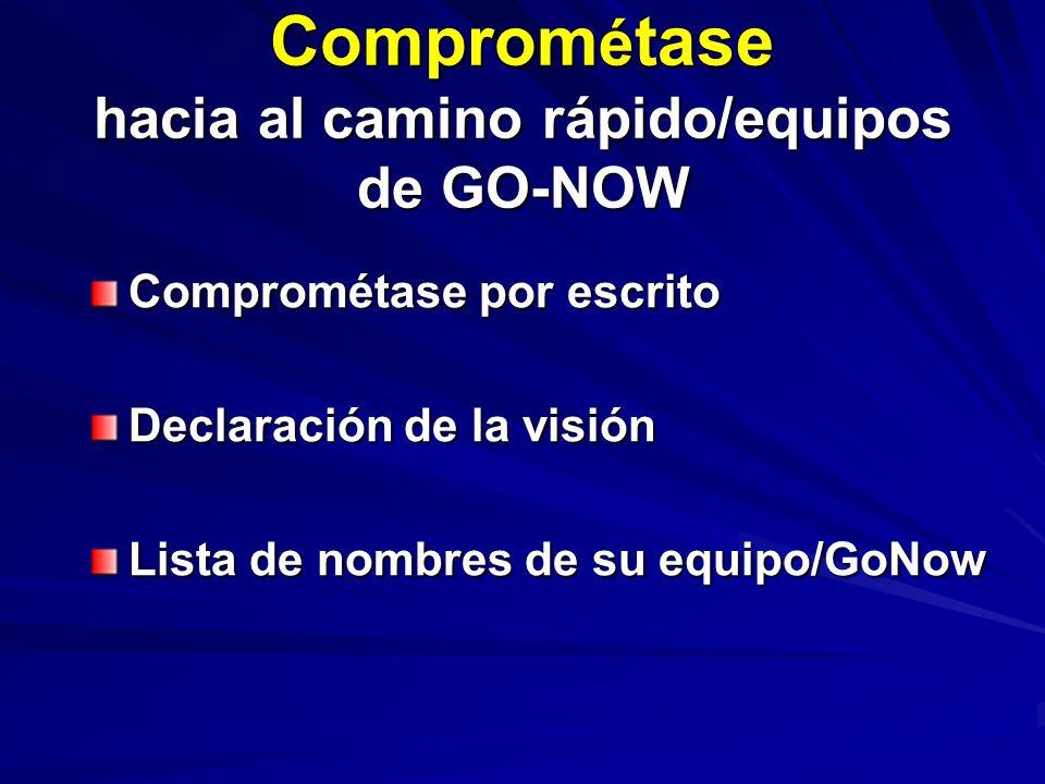 Comprom é tase hacia al camino rápido/equipos de GO-NOW Comprométase por escrito Declaración de la visión Lista de nombres de su equipo/GoNow