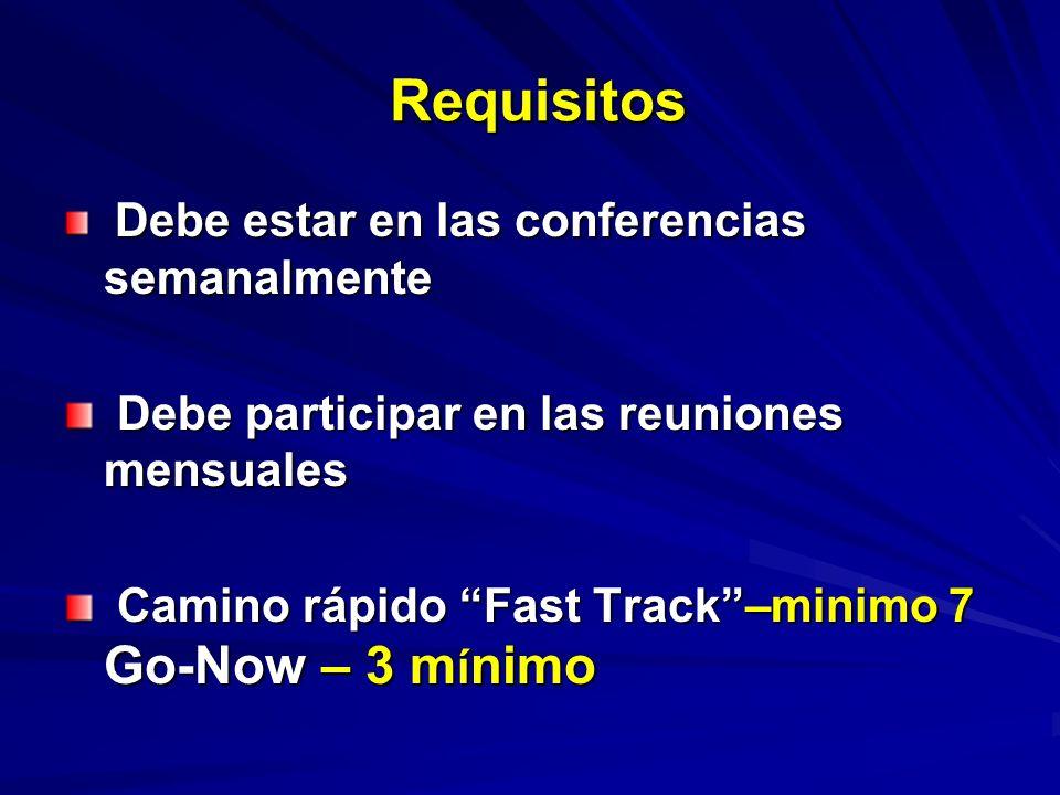Requisitos Debe estar en las conferencias semanalmente Debe estar en las conferencias semanalmente Debe participar en las reuniones mensuales Debe participar en las reuniones mensuales Camino rápido Fast Track–minimo 7 Go-Now – 3 m í nimo Camino rápido Fast Track–minimo 7 Go-Now – 3 m í nimo