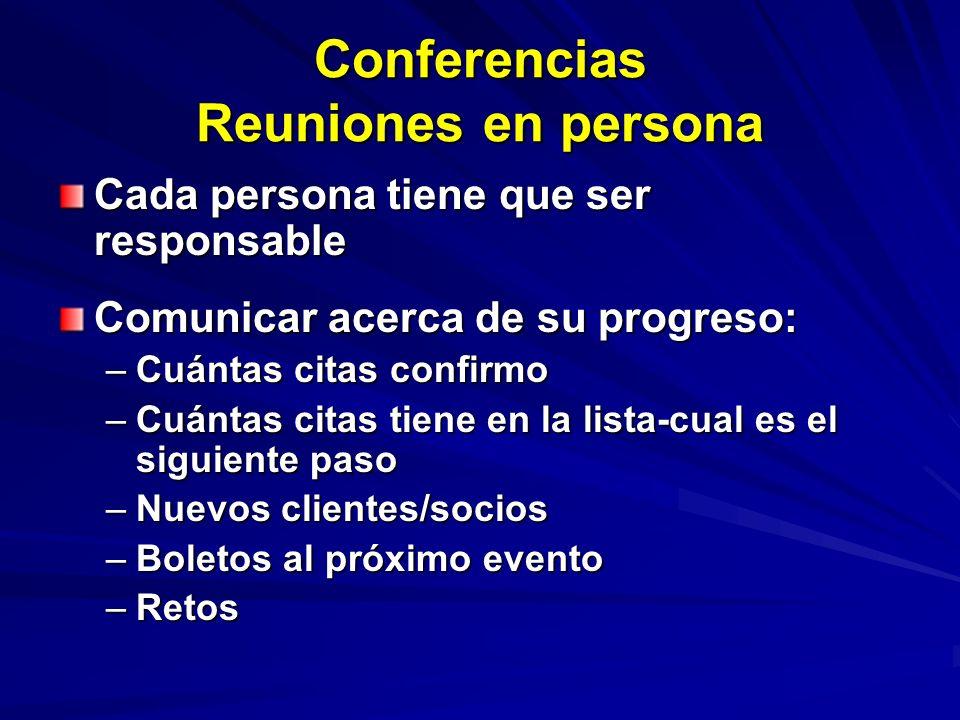 Conferencias Reuniones en persona Cada persona tiene que ser responsable Comunicar acerca de su progreso: –Cuántas citas confirmo –Cuántas citas tiene en la lista-cual es el siguiente paso –Nuevos clientes/socios –Boletos al próximo evento –Retos