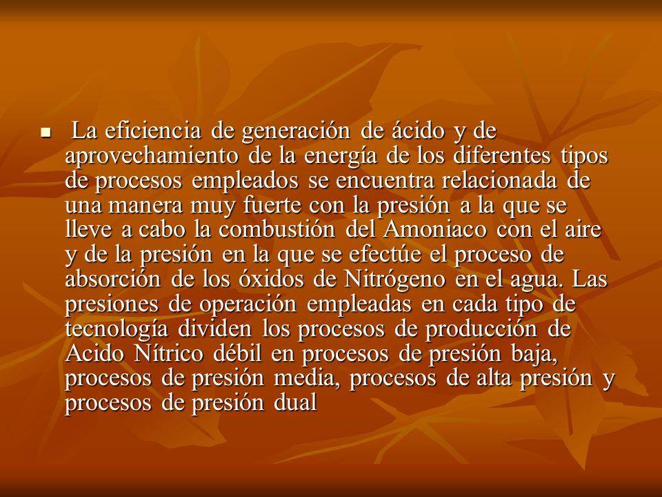 La eficiencia de generación de ácido y de aprovechamiento de la energía de los diferentes tipos de procesos empleados se encuentra relacionada de una