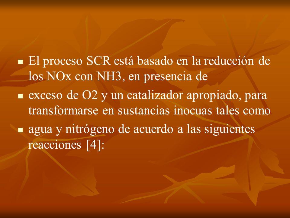 El proceso SCR está basado en la reducción de los NOx con NH3, en presencia de exceso de O2 y un catalizador apropiado, para transformarse en sustanci