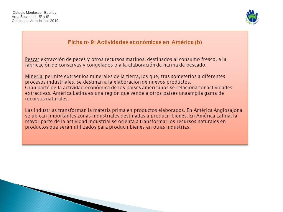 Colegio Montessori Epullay Área Sociedad – 5° y 6° Continente Americano - 2010 Ficha n° 9: Actividades económicas en América (b) Pesca: extracción de