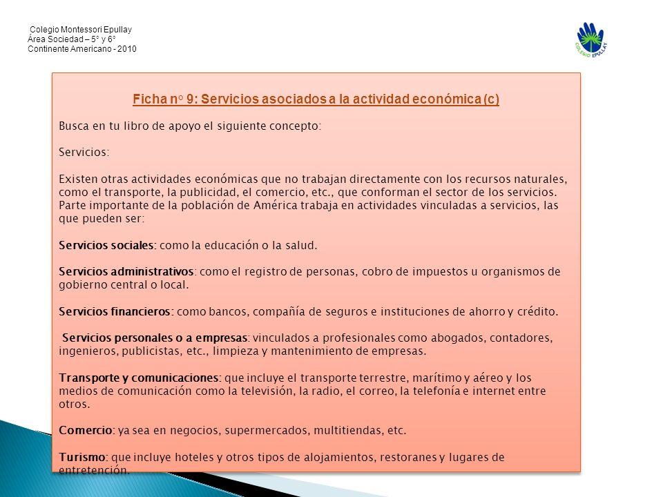 Colegio Montessori Epullay Área Sociedad – 5° y 6° Continente Americano - 2010 Ficha n° 9: Servicios asociados a la actividad económica (c) Busca en t