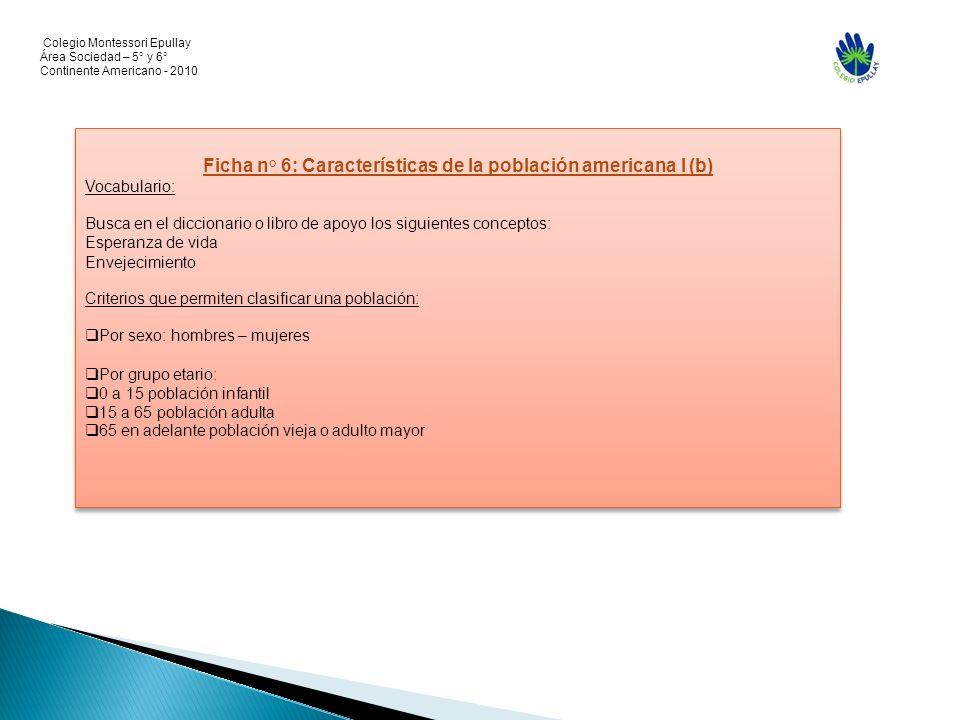 Colegio Montessori Epullay Área Sociedad – 5° y 6° Continente Americano - 2010 Ficha n° 6: Características de la población americana I (b) Vocabulario