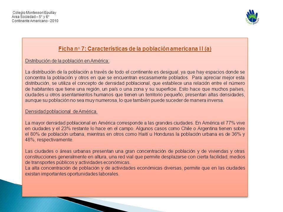 Colegio Montessori Epullay Área Sociedad – 5° y 6° Continente Americano - 2010 Ficha n° 7: Características de la población americana I I (a) Distribuc