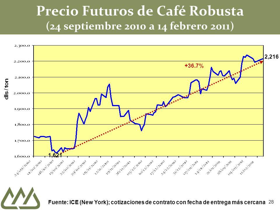Precio Futuros de Café Robusta (24 septiembre 2010 a 14 febrero 2011) Fuente: ICE (New York); cotizaciones de contrato con fecha de entrega más cercana +36.7% 1,621 2,216 28