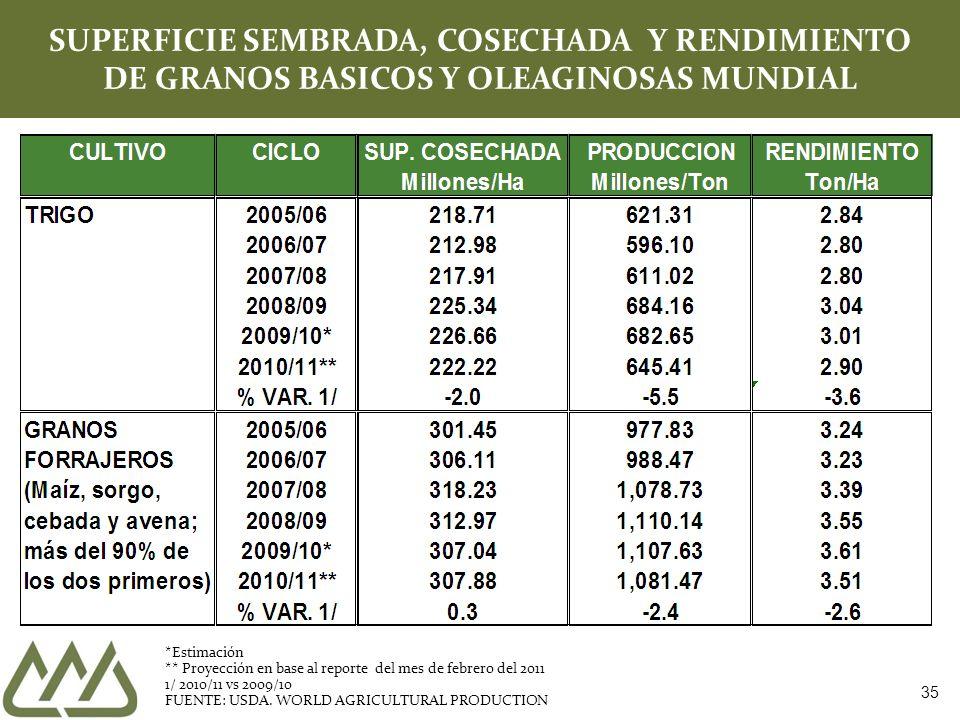 35 SUPERFICIE SEMBRADA, COSECHADA Y RENDIMIENTO DE GRANOS BASICOS Y OLEAGINOSAS MUNDIAL *Estimación ** Proyección en base al reporte del mes de febrero del 2011 1/ 2010/11 vs 2009/10 FUENTE: USDA.
