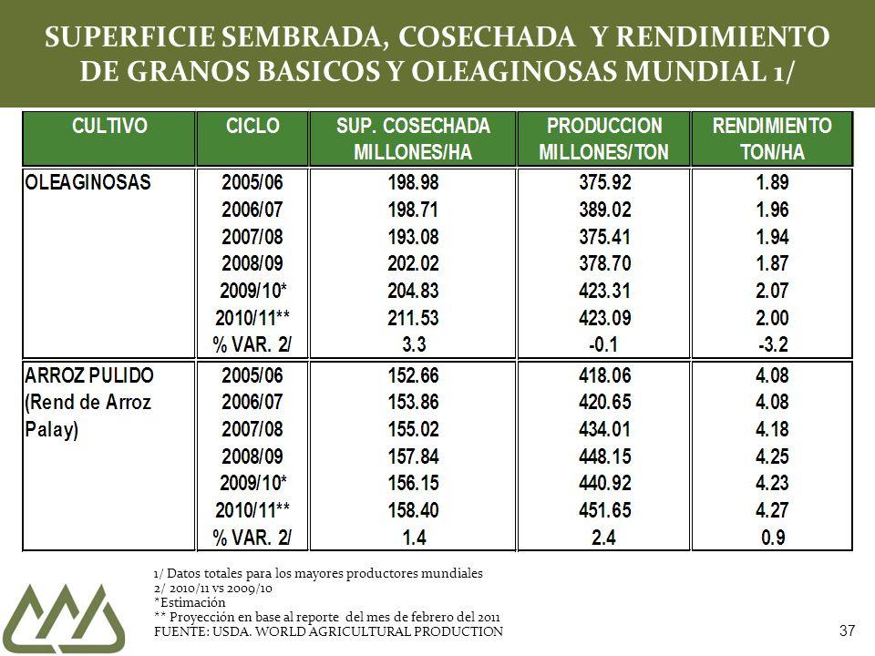 37 SUPERFICIE SEMBRADA, COSECHADA Y RENDIMIENTO DE GRANOS BASICOS Y OLEAGINOSAS MUNDIAL 1/ 1/ Datos totales para los mayores productores mundiales 2/ 2010/11 vs 2009/10 *Estimación ** Proyección en base al reporte del mes de febrero del 2011 FUENTE: USDA.