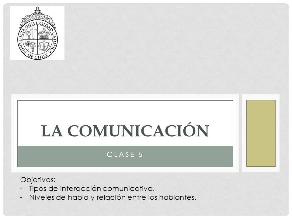 CLASE 5 LA COMUNICACIÓN Objetivos: -Tipos de interacción comunicativa. -Niveles de habla y relación entre los hablantes.