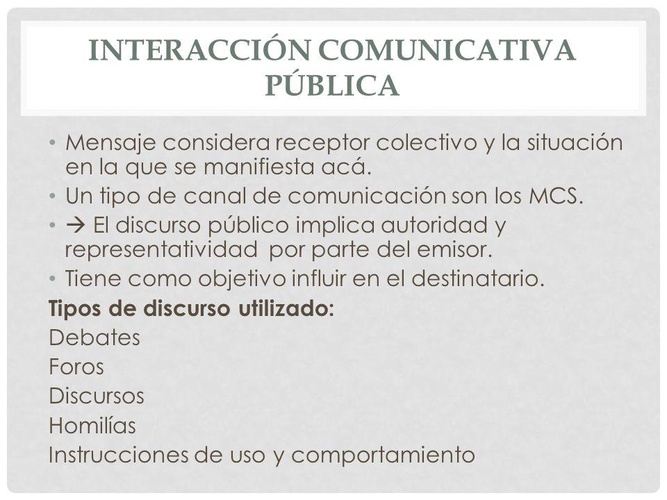 INTERACCIÓN COMUNICATIVA PÚBLICA Mensaje considera receptor colectivo y la situación en la que se manifiesta acá. Un tipo de canal de comunicación son
