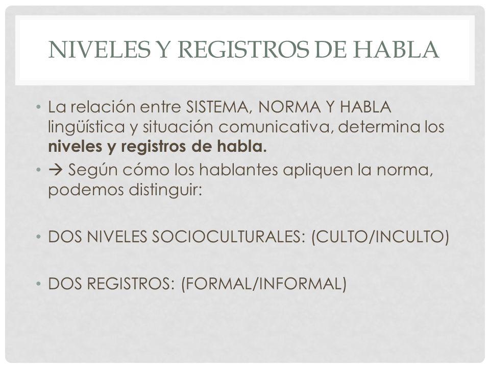 NIVELES Y REGISTROS DE HABLA La relación entre SISTEMA, NORMA Y HABLA lingüística y situación comunicativa, determina los niveles y registros de habla