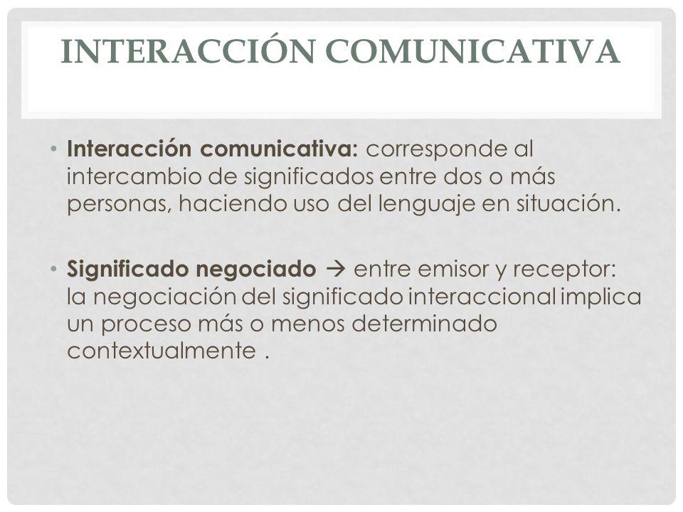 INTERACCIÓN COMUNICATIVA Interacción comunicativa: corresponde al intercambio de significados entre dos o más personas, haciendo uso del lenguaje en s