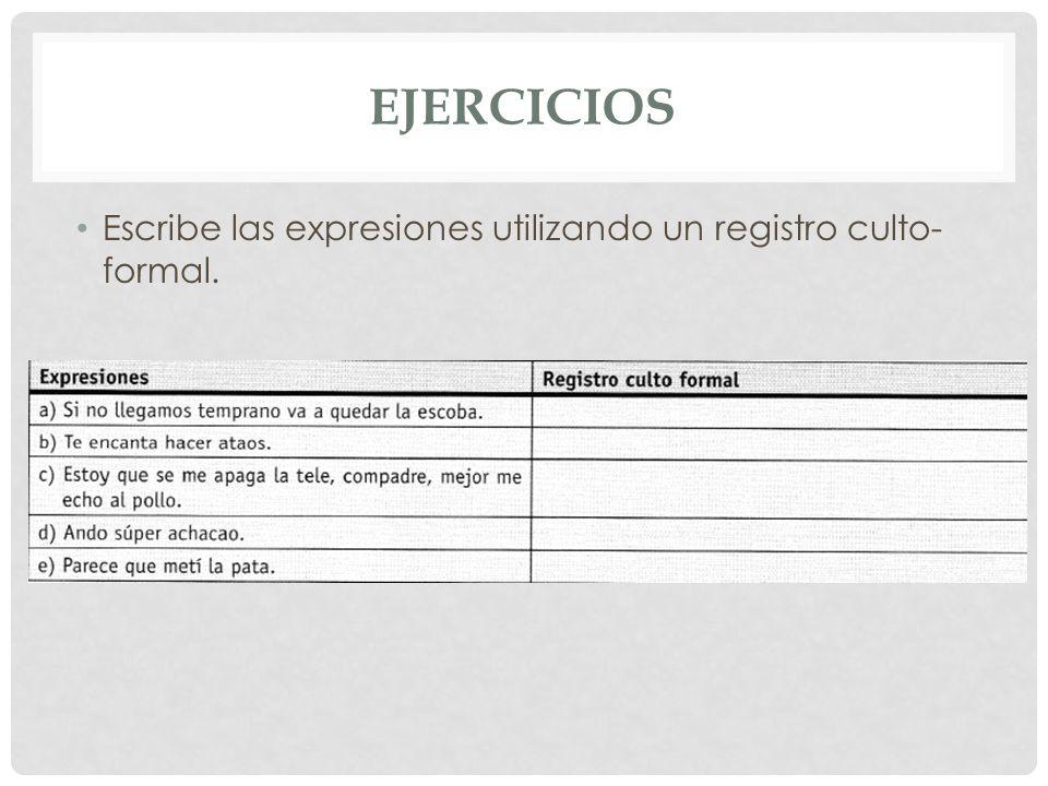 EJERCICIOS Escribe las expresiones utilizando un registro culto- formal.