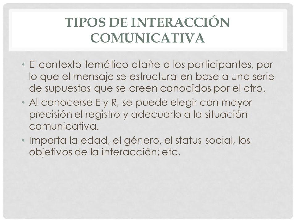 TIPOS DE INTERACCIÓN COMUNICATIVA El contexto temático atañe a los participantes, por lo que el mensaje se estructura en base a una serie de supuestos