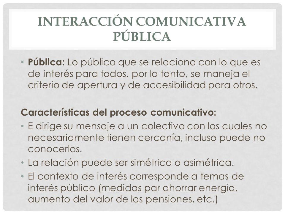INTERACCIÓN COMUNICATIVA PÚBLICA Pública: Lo público que se relaciona con lo que es de interés para todos, por lo tanto, se maneja el criterio de aper