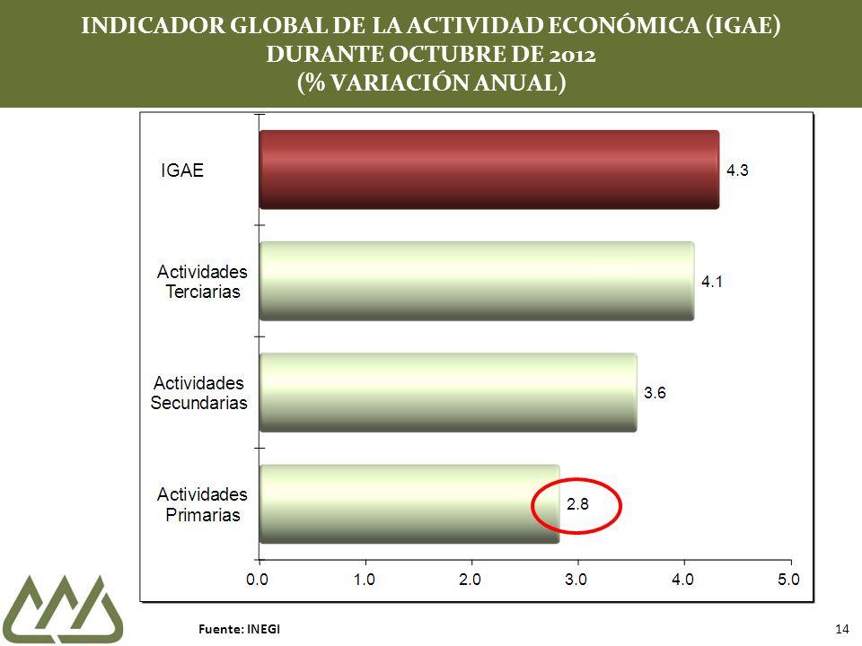 INDICADOR GLOBAL DE LA ACTIVIDAD ECONÓMICA (IGAE) DURANTE OCTUBRE DE 2012 (% VARIACIÓN ANUAL) Fuente: INEGI 14