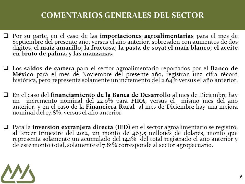 6 COMENTARIOS GENERALES DEL SECTOR Por su parte, en el caso de las importaciones agroalimentarias para el mes de Septiembre del presente año, versus e