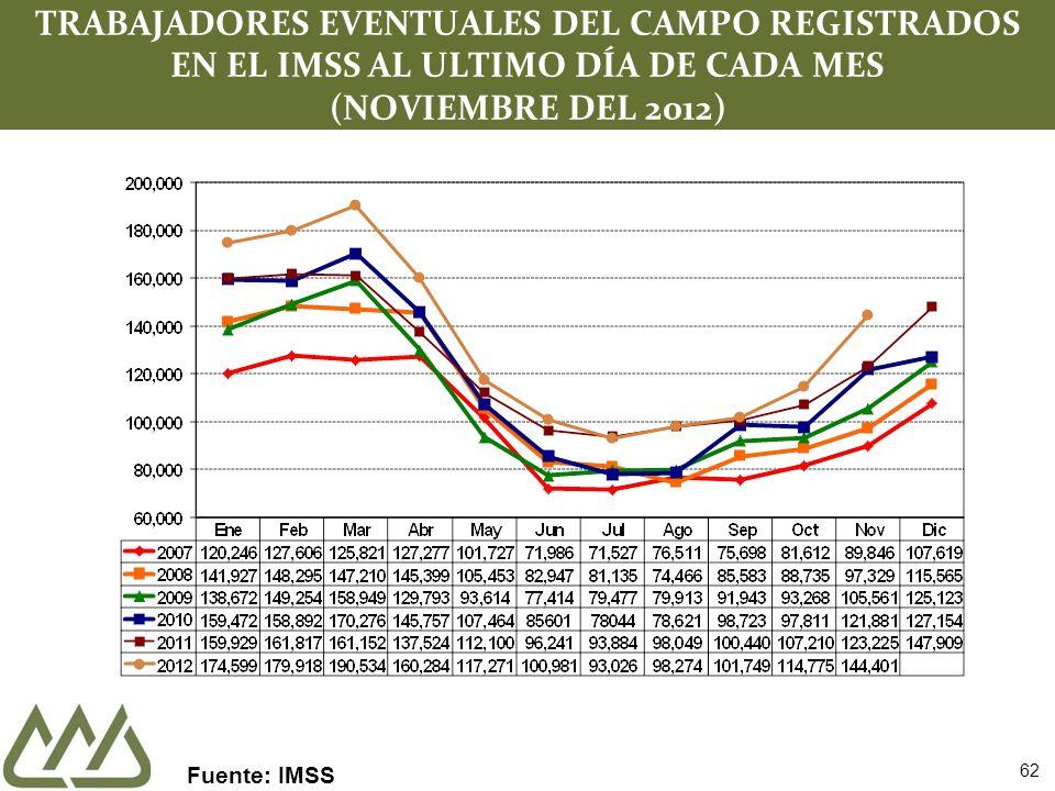 62 TRABAJADORES EVENTUALES DEL CAMPO REGISTRADOS EN EL IMSS AL ULTIMO DÍA DE CADA MES (NOVIEMBRE DEL 2012) Fuente: IMSS