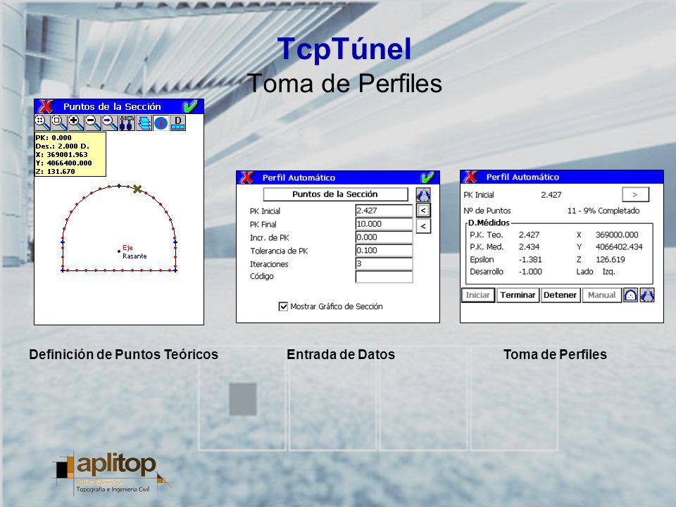 TcpTúnel Toma de Perfiles Definición de Puntos TeóricosToma de PerfilesEntrada de Datos