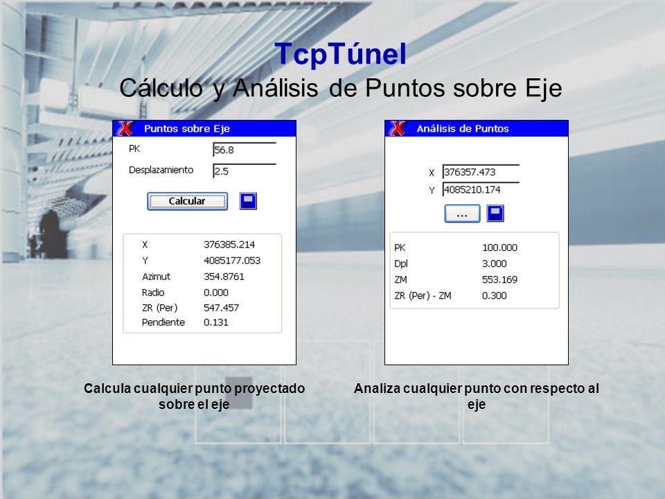 TCP-TÚNEL – Replanteo y Toma de Datos en Túneles TcpTúnel Cálculo y Análisis de Puntos sobre Eje Calcula cualquier punto proyectado sobre el eje Anali