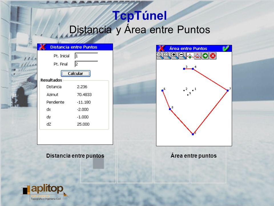 TcpTúnel Distancia y Área entre Puntos Distancia entre puntosÁrea entre puntos